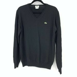 Lacoste Pullover Sweater Black Wool V-Neck
